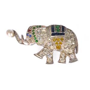 Antique Art Deco German Silver Paste Elephant Brooch