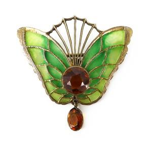 Antique Art Nouveau German Heinrich Levinger Plique-à-Jour Glass Butterfly Brooch
