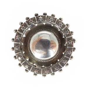 Antique Victorian Solid Silver Celestial Domed Brooch