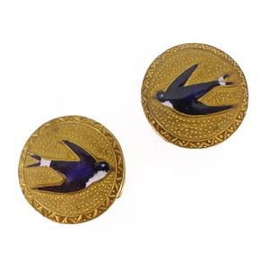 Antique Victorian Gold Metal Enamel Swallow Stud Button