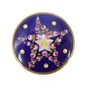 Antique Victorian French Celestial Floral Bresse Enamel Brooch