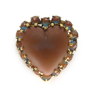 ANTIQUE ART DECO SAPHIRET GLASS HEART RHINESTONE SWEETHEART BROOCH