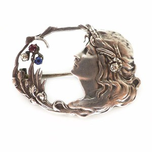 Antique Art Nouveau Sterling Silver Figural Lady & Dragonfly Brooch