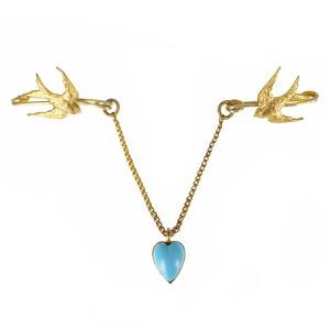 Antique Edwardian Gold Tone Swallow Heart Drop Brooch