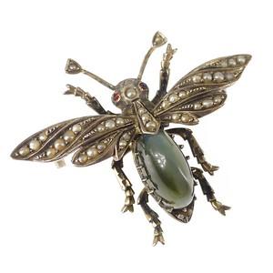 Antique Victorian Silver Chrysoberyl Cat's Eye Pearl Bug Brooch