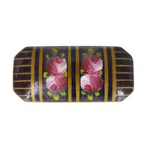 Antique Art Deco Black Floral Enamel Metal Brooch