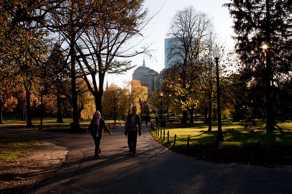 Boston Public Gardens, John Hancock in distance, from the corner of Charles and Beacon Streets.