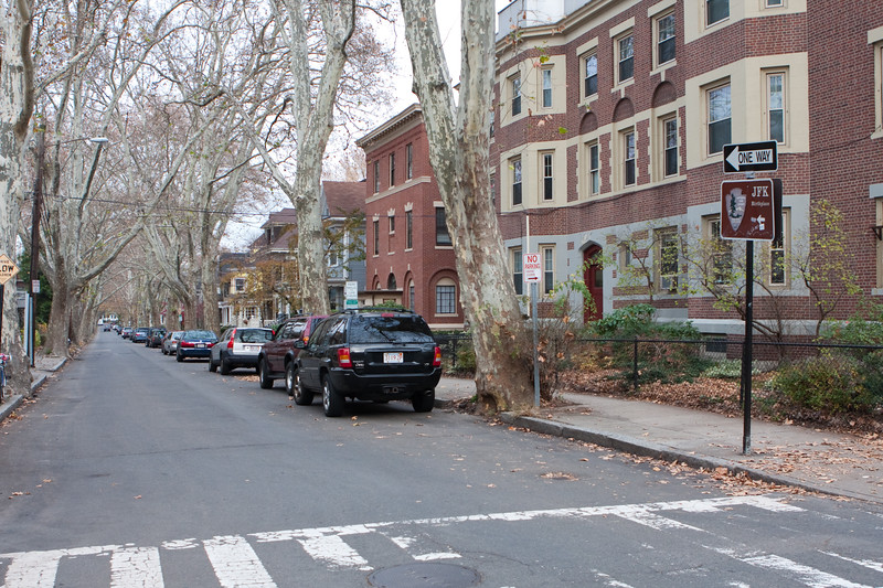 Beals Street, directly across the street from and perpendicular to KI, the street where John Fitzgerald Kennedy was born.