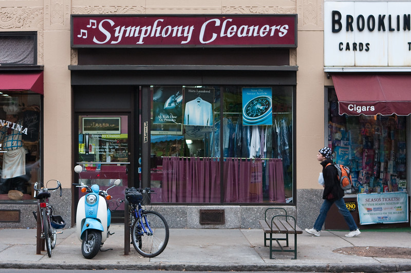 My friends Yaakov and Judi's dry cleaning shop. I like the little scooter.