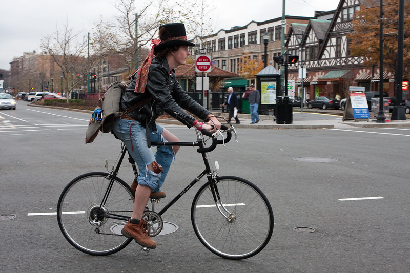 One of the myriad bicyclists who pass through CC every day, albeit one of the more colorful ones.