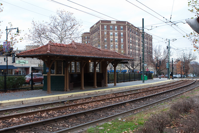 Coolidge Corner T stop, outbound; Pelham Hall, which dates back to the '50s, I believe -  in the background.