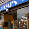 Rami's - great falafel. Last year, two of the guys who work in Rami's rushed out of the store and pulled a woman out of a burning car. This was a somewhat famous incident involving an older driver who crashed into a double-parked car. The older driver died.