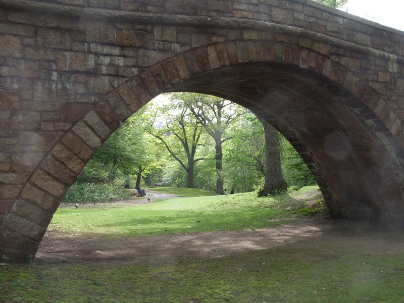 These stone buildings and archways (slightly light-struck here) are representative of the architecture during what must have been the original creation of the Muddy River section of the Emerald Necklace. The Emerald Necklace, a green-way that runs from the Back Bay to Franklin Park, was designed by Frederick Law Olmsted - yes, also of NYC's Central Park fame - in the late 1800s.