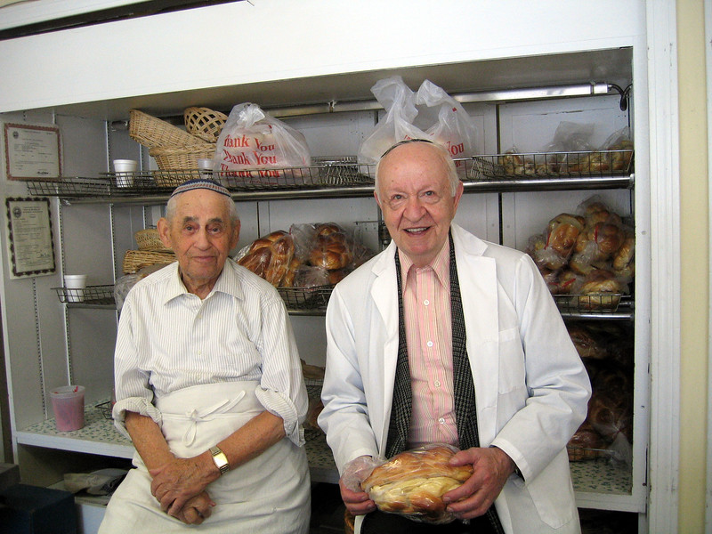 """Henry and Julie (Julian) at Andrew's Bakery, where I buy my challah when I don't have time to bake. Henry is Andrew's grandfather and recently celebrated his 94th birthday. Julie helps me with my Hebrew. """"Shtei challot katanot, bavakasha!"""""""