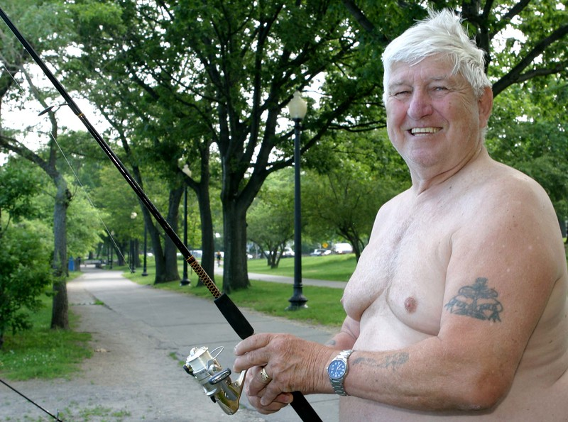 Jack, a retired welder, spends all of his days fishing at Jamaica Pond; on the shady southeastern shore in the summer, and from a sunny bench on the northwestern shore in the winter months. Last year Jack says he caught 150 trout. Jack, who normally sports his trademark ten-gallon white cowboy hat, but not on this hot morning (nor was he wearing much of anything else), is a fixture at the pond. He speaks to all the passersby--they all know him and give him a hearty greeting--and he gives all the dogs a treat. Jack has plenty of stories about the people he has met at Jamaica Pond, and he himself has been written up in The Boston Globe.