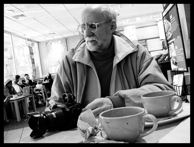 My afternoon began at Panera, where I met this gentleman, Mr. B.D. Colen, one of D-Grin's artists-in residence, for coffee and conversation. It was just a matter of time until the cameras came out.
