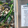 """""""Green materials for composting"""":  Compartmentalized compost bin at Tilth, Seattle"""