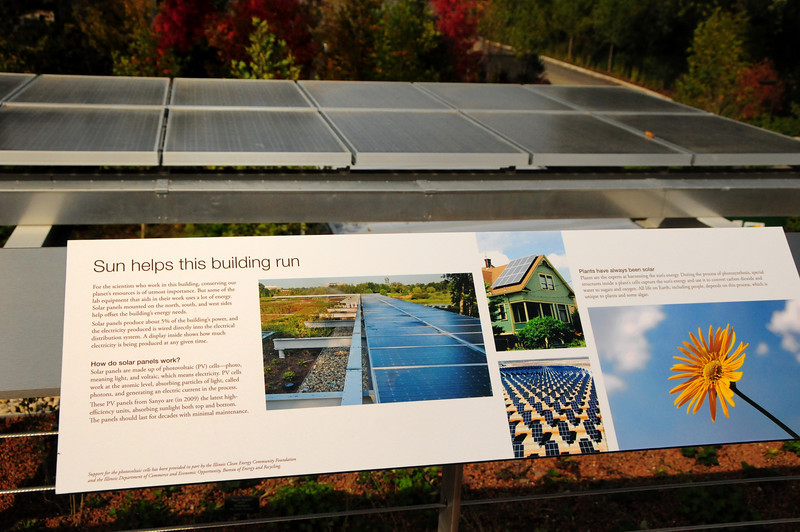 Solar panels on the new Plant Conservation Science Center building at Chicago Botanic Garden.