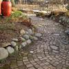 Rain Barrels and slavaged brick walkway - Seattle Tilth