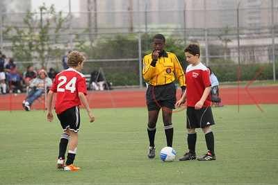 Brooklyn - May 22: Players compete at Brooklyn Italians Soccer Academy practice at John Dewey High School on Sunday, May 22, 2011 in Brooklyn, NY.