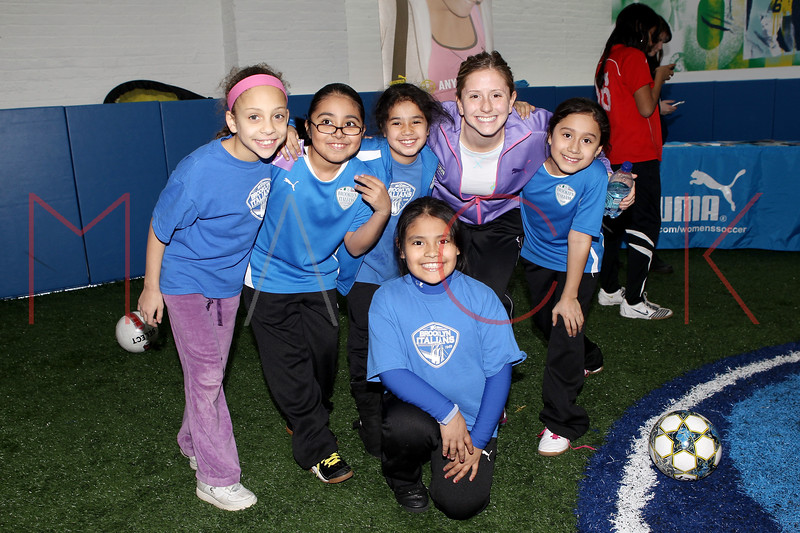 Brooklyn - March 04: Soccer Players pose with Carolyn Blank at the open house at Upper 90 Soccer on Friday, March 4, 2011 in Brooklyn, NY.  (Photo by Steve Mack/S.D. Mack Pictures)