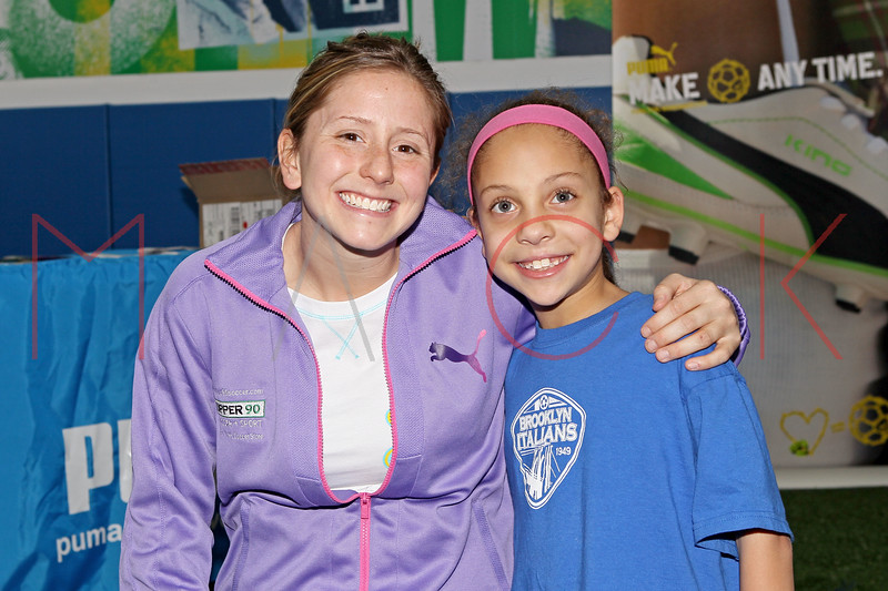 Brooklyn - March 04: Soccer Players Carolyn Blank and Sydney Mack at the open house at Upper 90 Soccer on Friday, March 4, 2011 in Brooklyn, NY.  (Photo by Steve Mack/S.D. Mack Pictures)