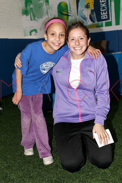 Brooklyn - March 04: Soccer Players Sydney Mack and Carolyn Blank at the open house at Upper 90 Soccer on Friday, March 4, 2011 in Brooklyn, NY.  (Photo by Steve Mack/S.D. Mack Pictures)