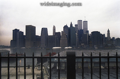 Manhattan looking toward South Street Seaport from the Brooklyn Heights Promenade, November 1989.