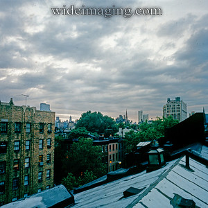 Rooftop view in Brooklyn Heights September 1978. The Trade Center appears in the background.