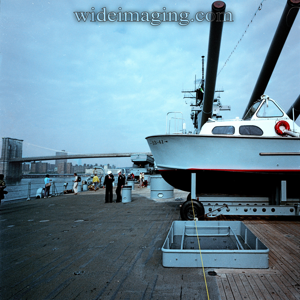 Main deck of the IOWA BB-61, looking uptown with the Brooklyn bridge in the background, She returned to Brooklyn in October 1984. The IOWA was launched from the Brooklyn Navy Yard on February 23, 1943.