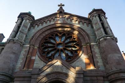 The rose window of the Church of St. Luke and St. Matthew.