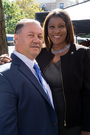 Abdul Jawad, Foodtown owner with Public Advocate, Tish James.