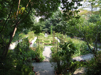 View from the stairs on the west side of the Herb garden.