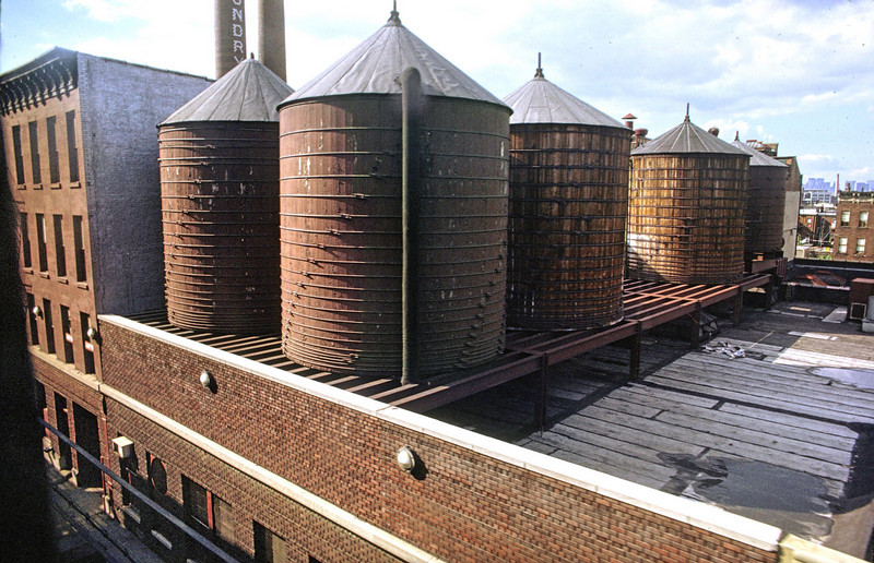 The water tanks of the Cascade Laundry.