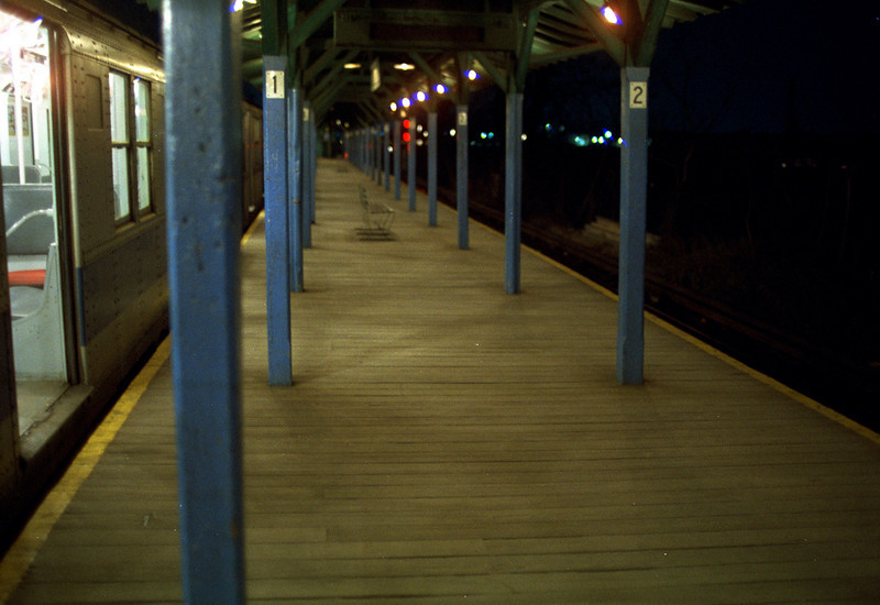 The Metropolitan Avenue Station at night.  Early 70's.