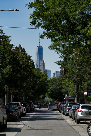 The view to Manhattan across the East River on South 10th Street in Williamsburg. That's the World Trade Center.