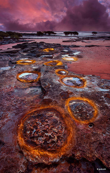 Dinosaurs footprints at sunset
