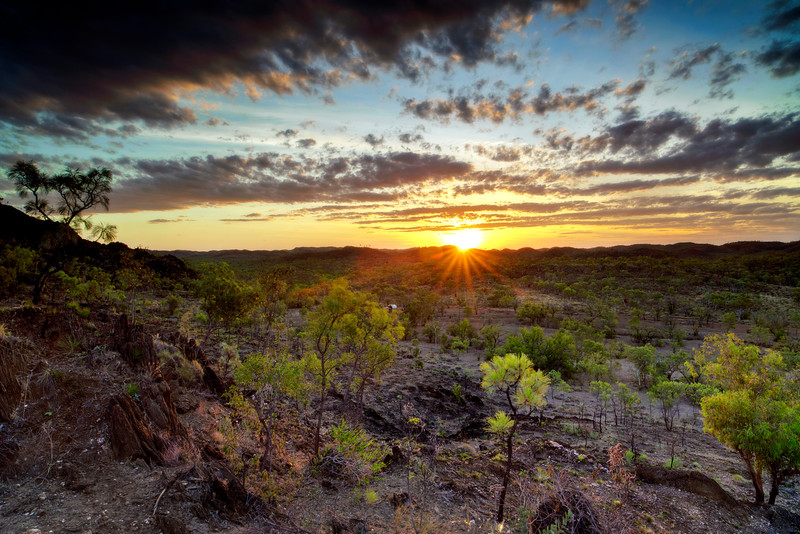 Sunset over the kimberley rugged hill