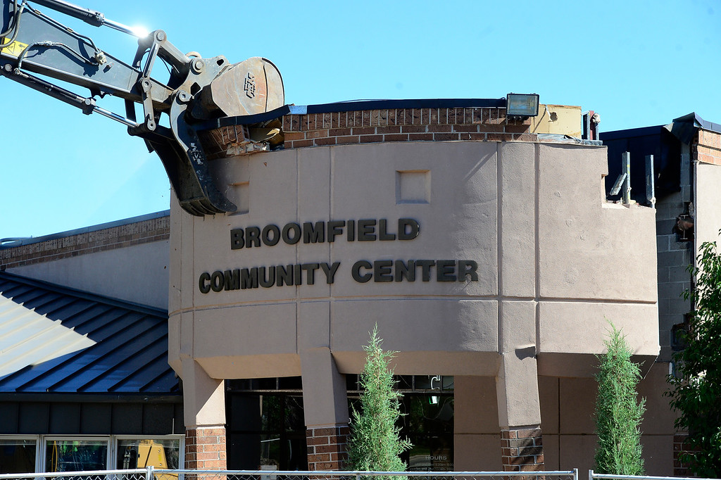 . BROOMFIELD, CO - SEPTEMBER 13 2018 The demolition of the Broomfield Community Center Demolition Begins Thursday September 13, 2018.  For more photos go to broomfieldenterprise.com (Photo by Paul Aiken/Staff Photographer)