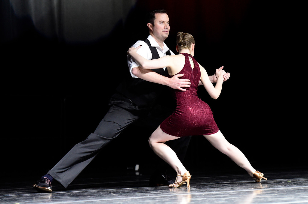 . Greg Luebke and Juls Ryan perform on stage during the Dancing with the Broomfield Stars fundraiser hosted by the Broomfield Community Foundation on Thursday at the 1stBank Center in Broomfield. For more photos of the fundraiser go to dailycamera.com Jeremy Papasso/ Staff Photographer/ Oct. 5, 2017