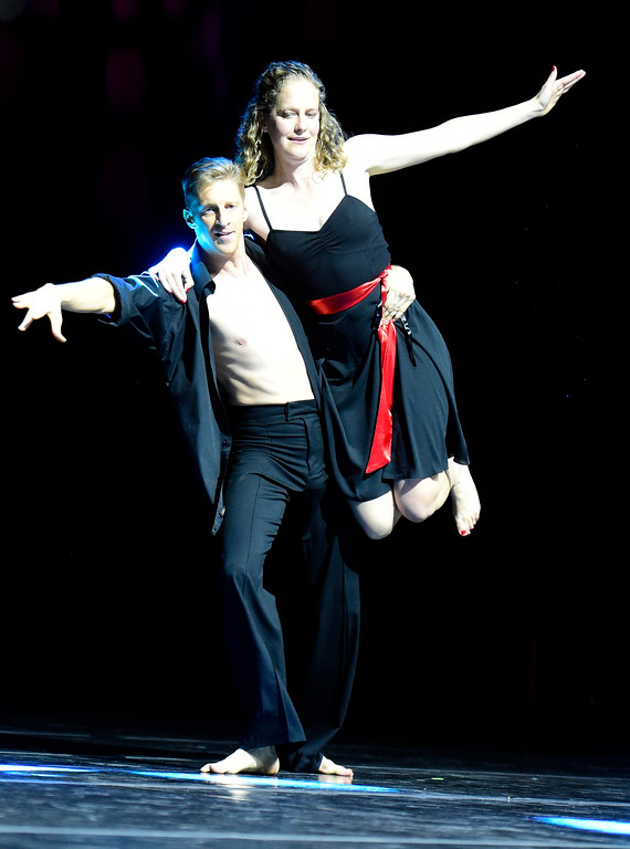. Carol Lucking and Ryan Shanahan perform on stage during the Dancing with the Broomfield Stars fundraiser hosted by the Broomfield Community Foundation on Thursday at the 1stBank Center in Broomfield. For more photos of the fundraiser go to dailycamera.com Jeremy Papasso/ Staff Photographer/ Oct. 5, 2017