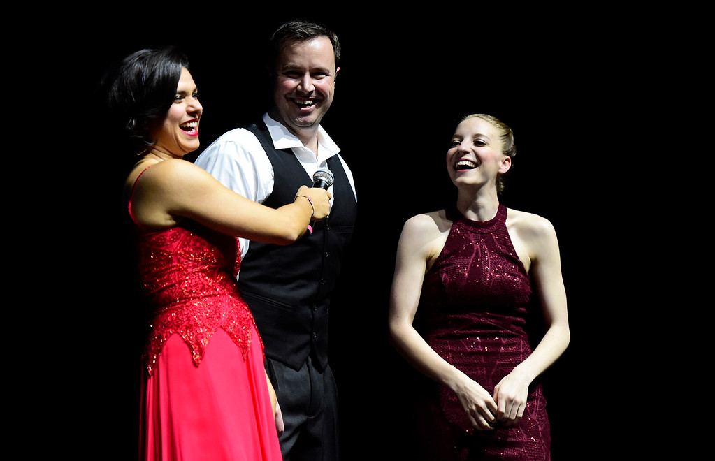 . Belen DeLeon laughs with Greg Luebke and Juls Ryan after they performed during the Dancing with the Broomfield Stars fundraiser hosted by the Broomfield Community Foundation on Thursday at the 1stBank Center in Broomfield. For more photos of the fundraiser go to dailycamera.com Jeremy Papasso/ Staff Photographer/ Oct. 5, 2017