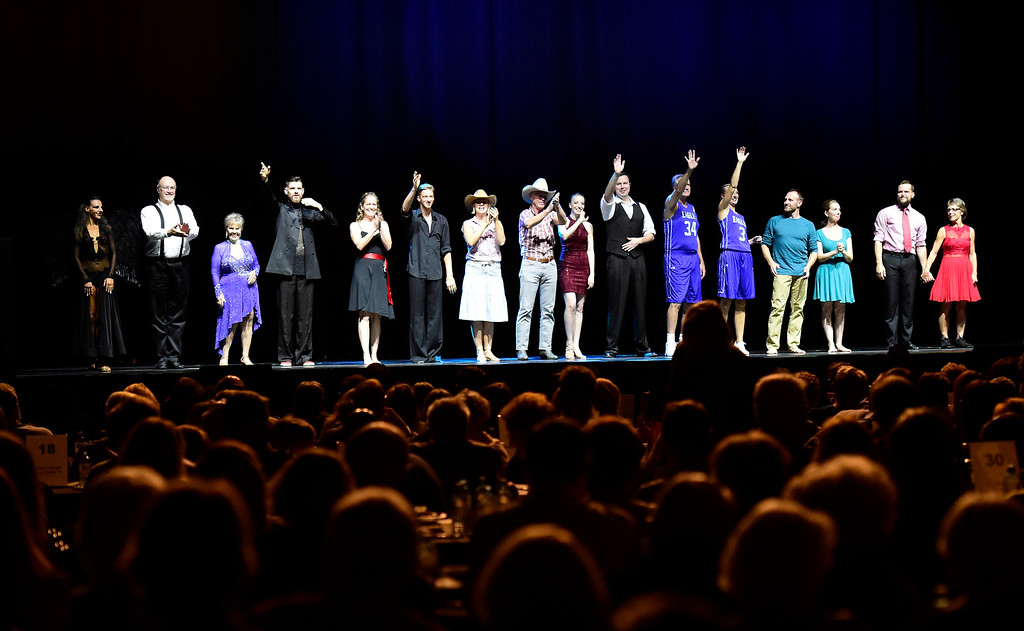 . The performers stand on stage together during the Dancing with the Broomfield Stars fundraiser hosted by the Broomfield Community Foundation on Thursday at the 1stBank Center in Broomfield. For more photos of the fundraiser go to dailycamera.com Jeremy Papasso/ Staff Photographer/ Oct. 5, 2017