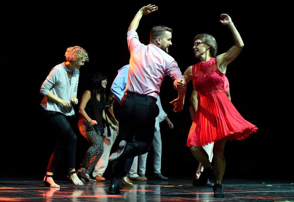 . Karen Smith and Danny Ryan perform on stage during the Dancing with the Broomfield Stars fundraiser hosted by the Broomfield Community Foundation on Thursday at the 1stBank Center in Broomfield. For more photos of the fundraiser go to dailycamera.com Jeremy Papasso/ Staff Photographer/ Oct. 5, 2017