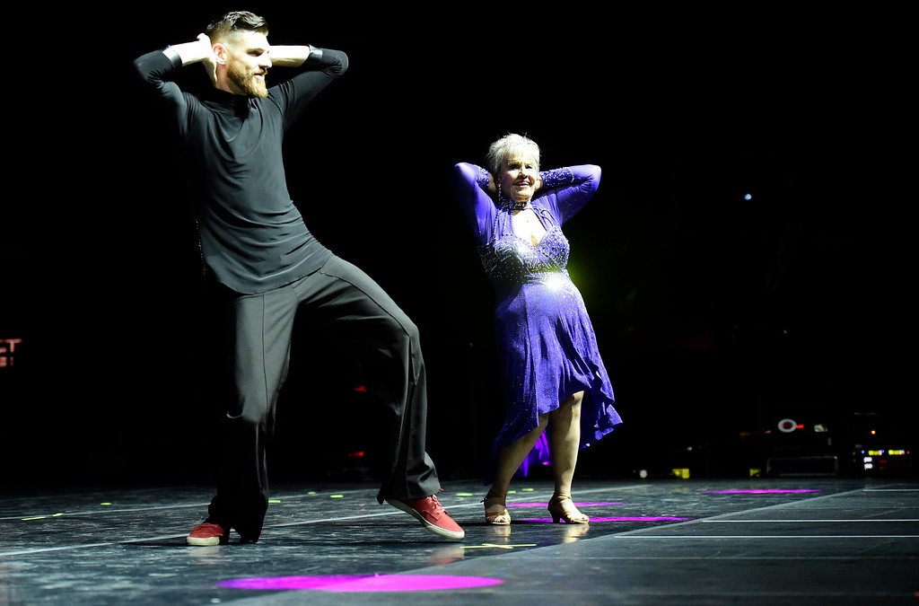 . Bev Swenson and Tim Merz perform on stage during the Dancing with the Broomfield Stars fundraiser hosted by the Broomfield Community Foundation on Thursday at the 1stBank Center in Broomfield. For more photos of the fundraiser go to dailycamera.com Jeremy Papasso/ Staff Photographer/ Oct. 5, 2017