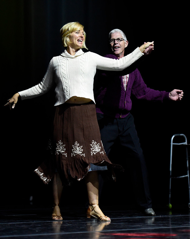 . Tony Kassel and Allison Johnson perform on stage during the Dancing with the Broomfield Stars fundraiser hosted by the Broomfield Community Foundation on Thursday at the 1stBank Center in Broomfield. For more photos of the fundraiser go to dailycamera.com Jeremy Papasso/ Staff Photographer/ Oct. 5, 2017