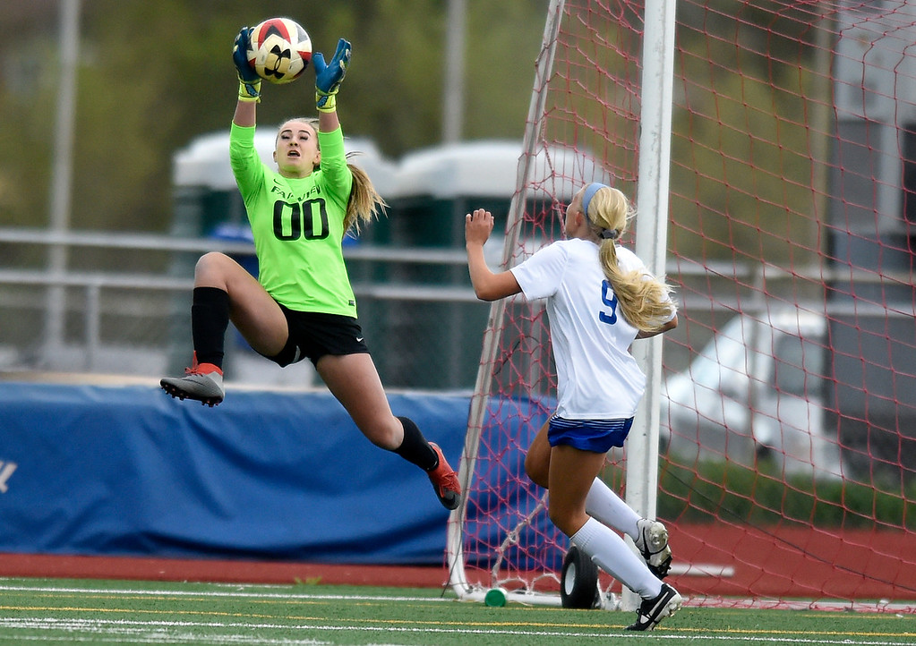 . Fairview High School goalkeeper Sawyer Whittle makes a save during a CHSAA State 5A Quarterfinal game against Broomfield on Wednesday in Broomfield. Broomfield won the game 4-1. More photos: www.bocopreps.com Jeremy Papasso/ Staff Photographer/ May 17, 2017