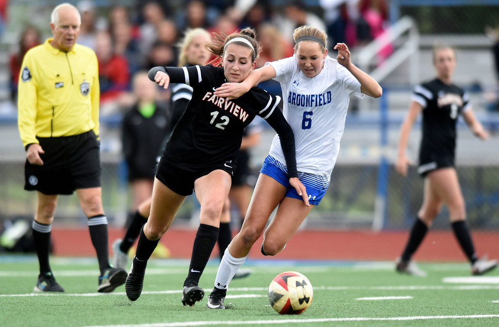 . Fairview High School\'s Brooke Berdan fights for the ball with Ashley Tuccio during a CHSAA State 5A Quarterfinal game against Broomfield on Wednesday in Broomfield. Broomfield won the game 4-1. More photos: www.bocopreps.com Jeremy Papasso/ Staff Photographer/ May 17, 2017