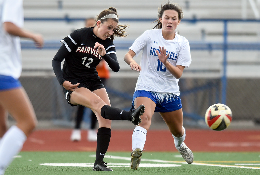 . Fairview High School\'s Brooke Berdan takes a shot on goal in front of Cara Quinn during a CHSAA State 5A Quarterfinal game against Broomfield on Wednesday in Broomfield. Broomfield won the game 4-1. More photos: www.bocopreps.com Jeremy Papasso/ Staff Photographer/ May 17, 2017