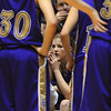 Holy Family's Stephanie Giltner listens during a time out at Saturday's 3A state championship game agaisnt Colorado Springs Christian at CSU's Moby Gym.<br /> <br /> <br /> March 13, 2010<br /> Staff photo/David R. Jennings